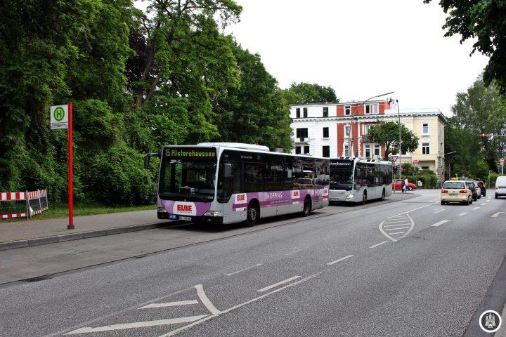 In der Kehre Alsterchaussee endet im Nachtverkehr auch die 109 auf der Strecke Alsterchaussee-Dammtor.