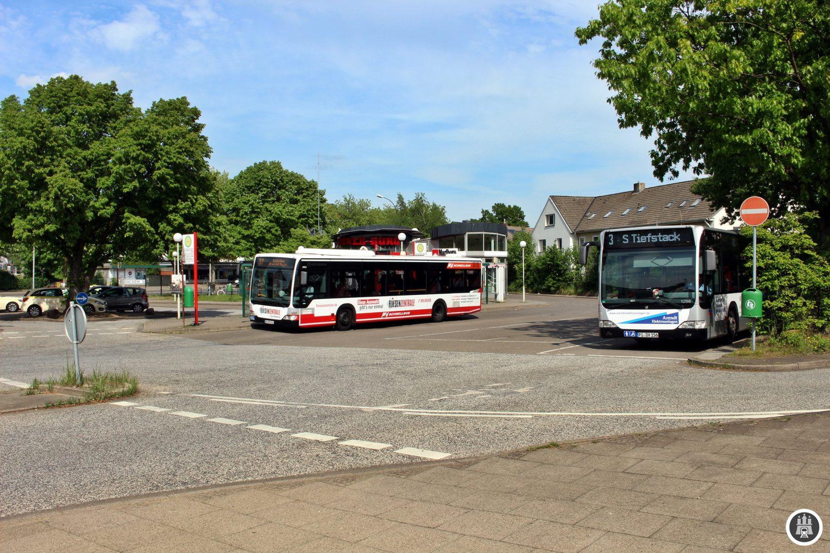Auf dem Pausenplatz am Schenefelder Platz stehen die Busse der 3 zur Fahrt bereit.