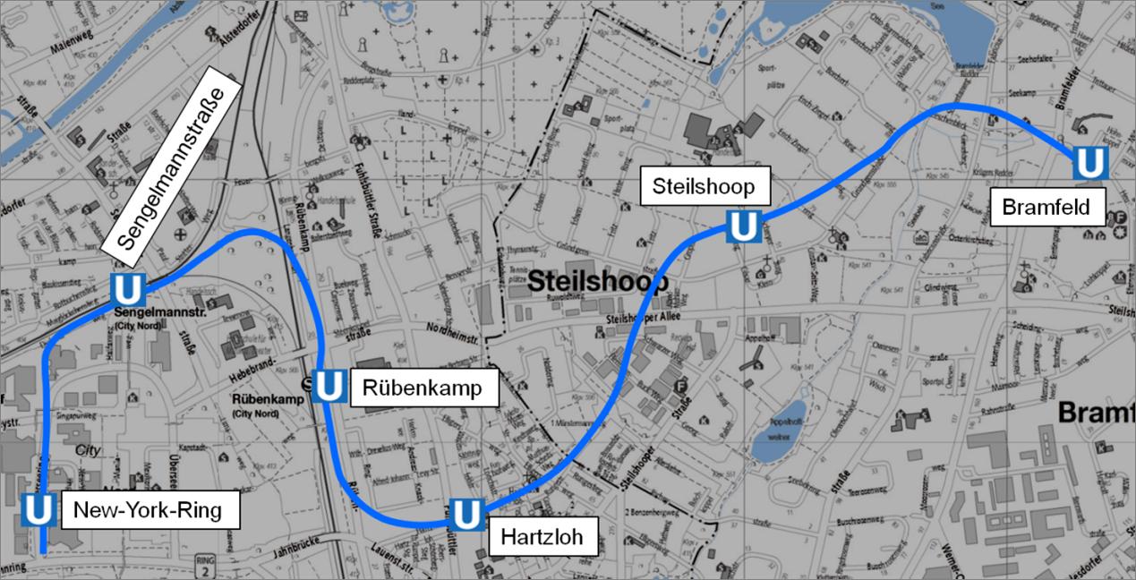 Trassenverlauf der neuen U5 - Bild: (c) Hamburger Hochbahn