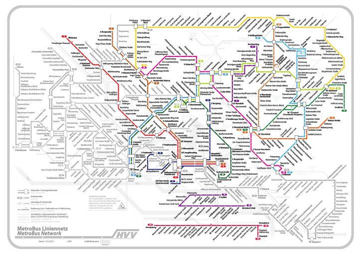 Die farbig hervorgehobenen Linien zeigen diejenigen, für die die HOCHBAHN die Konzessionen besitzt.