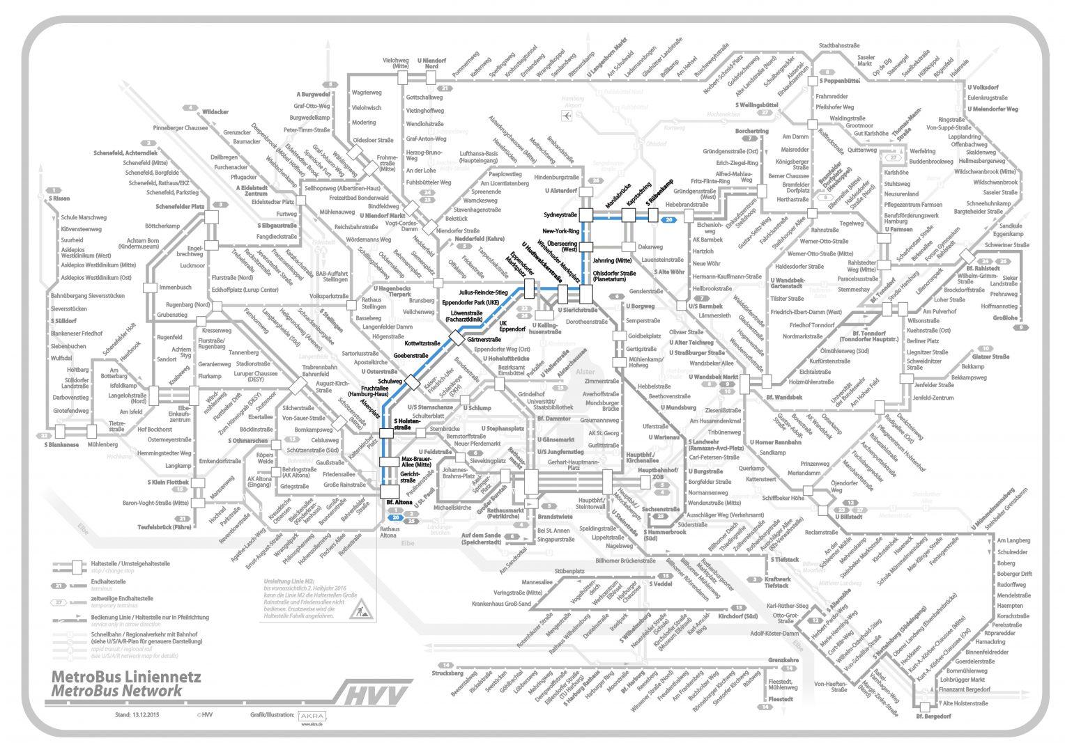 Linie 20 im Liniennetz hervorgehoben, (c) Hamburger Verkehrsverbund (bearbeitet)