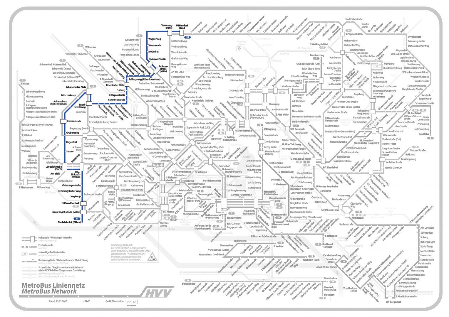 Linie 21 im Liniennetz hervorgehoben, (C) Hamburger Verkehrsverbund (bearbeitet)