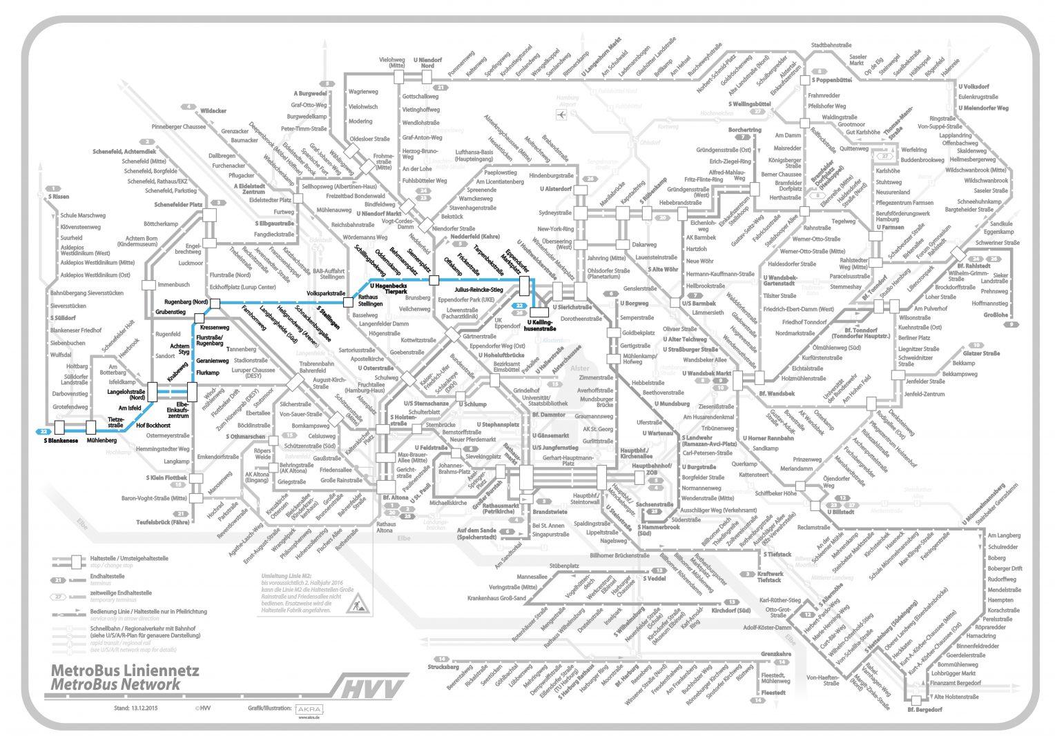 Linie 22 im Liniennetz hervorgehoben, (C) Hamburger Verkehrsverbund (bearbeitet)