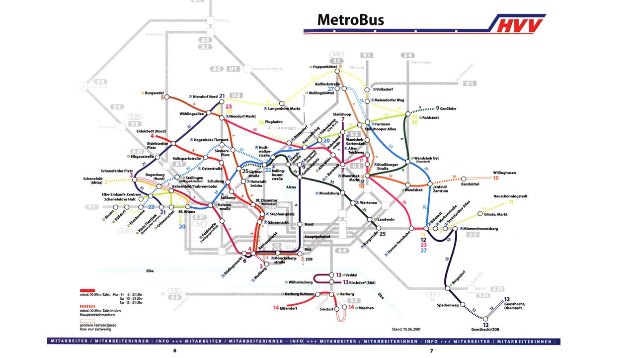 Das allererste MetroBus-Netz wurde veröffentlicht, als es noch keine R-Bahnen gab und S4 und S5 noch fuhren. © Hamburger Verkehrsverbund