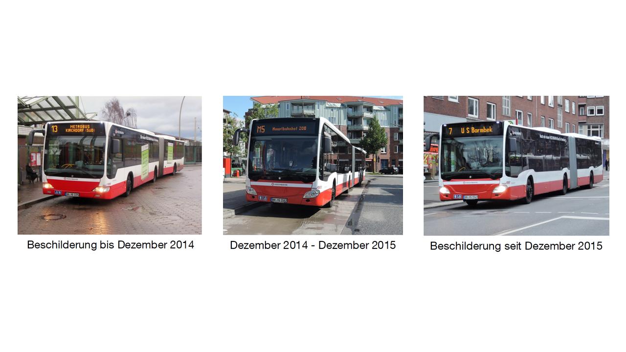Immer was verändert: Zielbeschilderung der MetroBus-Linien.