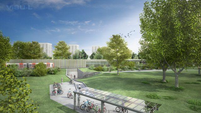 Auch im Bahnhofsumfeld stehen Veränderungen an. Selbstverständlich erhält die neue Haltestelle Bike+Ride-Plätze. © HOCHBAHN