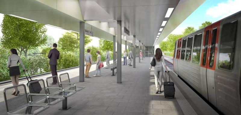 Helle und lichte Gestaltung: So soll der Mittelbahnsteig der neuen Station Oldenfelde aussehen © HOCHBAHN