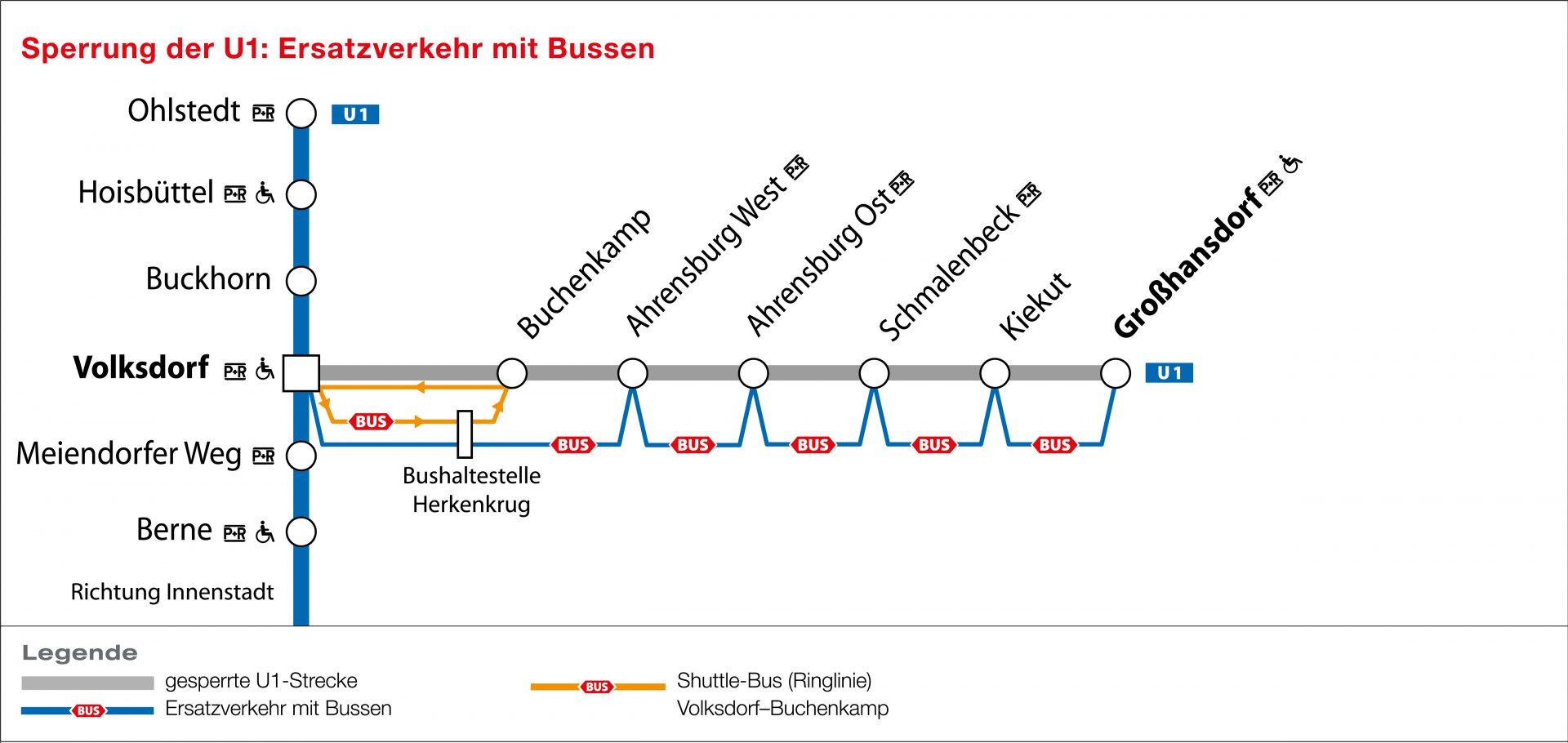 Es gibt diesen Sommer zwei Ersatzbus-Linien: Den U1-Ersatzverkehr zwischen Volksdorf und Großhansdorf ohne Halt an der Haltestelle Buchenkamp und einen eigens für diese Haltestelle eingerichteten Shuttle-Bus ab Volksdorf. Umgestiegen werden kann an der Haltestelle Herkenkrug. Zum Vergrößern klicken. (Copyright: HOCHBAHN)