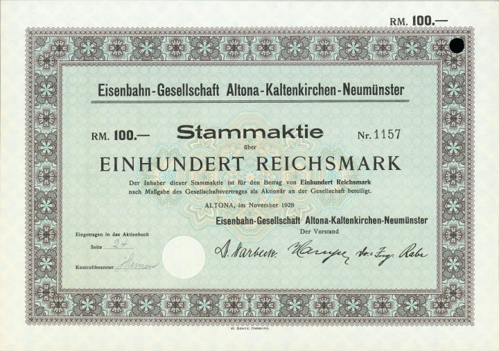Am 1. August 2016 wurde nach rund anderthalbjähriger Bauzeit der Streckenabschnitt zwischen Neumünster Süd und Bad Bramstedt frei gegeben - Bestandteil der heutigen Linie A1 der AKN Eisenbahn AG, die damals noch Eisenbahn-Gesellschaft Altona-Kaltenkirchen-Neumünster hieß. Hier eine Stammaktie aus dem Jahr 1928.