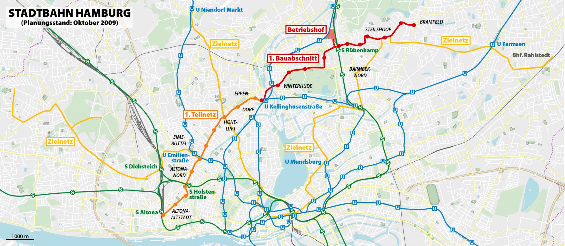 Das geplante Netz der Stadtbahn 2010 - (cc) NordNordWest