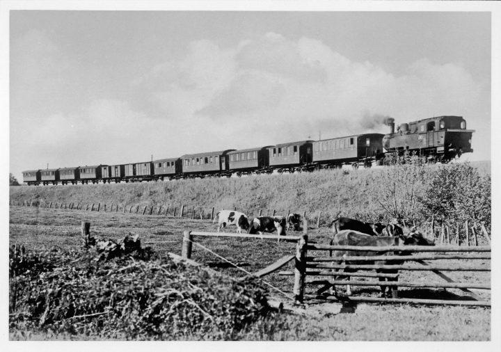 Ein in der Zeit nach dem zweiten Weltkrieg aus allen denkbaren Waggons zusammengesetzter Zug zwischen Gayen und Wiemersdorf, der heutigen Linie A1. Fotografiert 1948 von Carl Bellingrodt, einem der bekanntesten deutschen Eisenbahnfotografen des 20. Jahrhunderts. Nach rund anderthalbjähriger Bauzeit wurde zuvor am 1. August 1916 der Streckenabschnitt zwischen Neumünster Süd und Bad Bramstedt frei gegeben. Die AKN Eisenbahn AG hieß damals noch Eisenbahn-Gesellschaft Altona-Kaltenkirchen-Neumünster.
